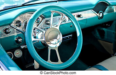 Classic Sports Car Interior - Driver's seat and interior of...