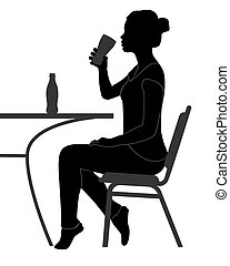 girl drinking - black silhouette of a girl drinking from a...