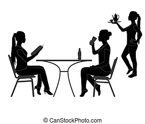 visitors of the restaurant - black silhouettes of the...
