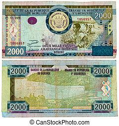 burundi, -, circa, 2008, nota, 2000, francos, issued,...
