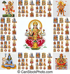 collage with hindu gods Lakshmi, Hanuman,Shiva,Parvati,...