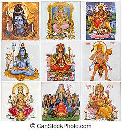 panthéon, -, collage, hindou, dieux