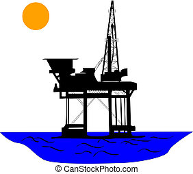 Oil rig - Oil platform in the middle of sea, under the sun.