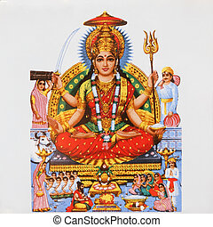 imagen, hindú, diosa, Parvati