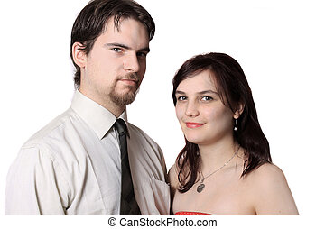 Cute young couple happy together on a white background