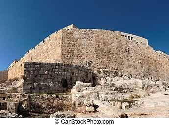 Distorted view of the corner of Jerusalem Old City wall near...