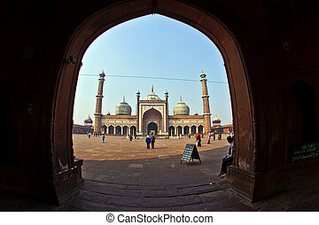 Jama Masjid Mosque, old Delhi, India. - Jama Masjid Mosque,...