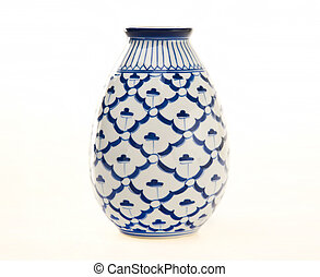 Blue and White Pottery Vase - Blue and white antique pottery...