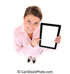 Look at that! - A picture of a young woman holding a tablet...