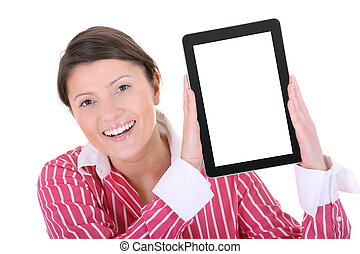Computer girl - A picture of a young woman holding a tablet...
