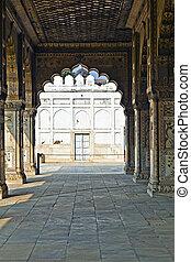 德里, lal, qila, 鑲嵌, 印度, 私人, 或者, diwan, 觀眾, 紅色, 拱, khas, 大理石,...
