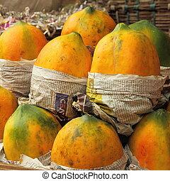 mango fruit on indian market in Mumbai Bombay