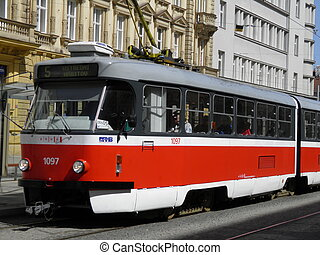 Brno tram - a typical red tram in Brno