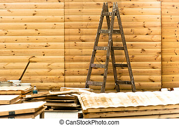 Wooden ladder in a construction site