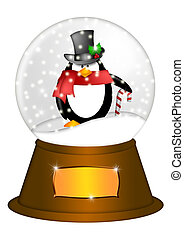 Water Snow Globe with Penguin and Candy Cane Illustration