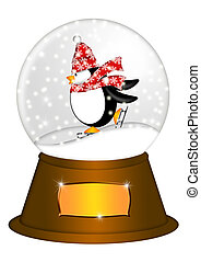 Water Snow Globe with Penguin Ice Skating Illustration -...