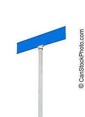 Blank street sign against sky