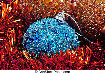 christmas balls - clseup of some christmas balls and tinsel