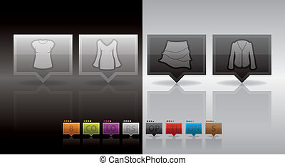 Woman's Clothing theme icons set covering all things from a...