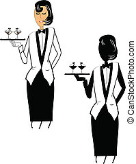 female waitress - vector sketch of female waitress holding 2...