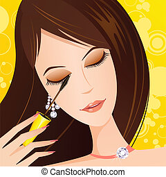 Lady applying eye Mascara - illustration of fashionable lady...