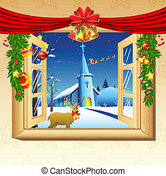 Christmas Decoration - illustration of christmas snowy night...