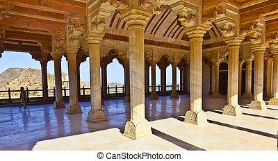 Columned, salle, ambre, fort, Jaipur, Inde