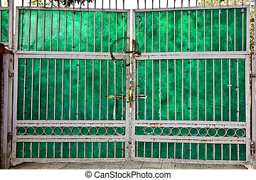 old closed gate of a house downtown in Delhi