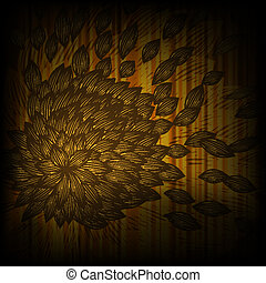 vector background with abstract yellow flower with blown...