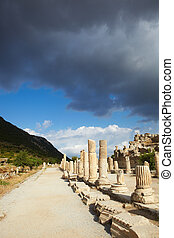 Ephesus in Turkey - Pillars and collumns next to the main...