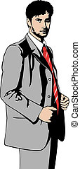 Businessman in grey suit - Vector illustration of a...