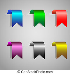 bookmark ribbons - Colorful bookmark ribbons.Vector set