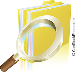 Magnifying glass data file folder search conceptual...