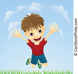 Young happy boy jumping - Illustration of a young boy...