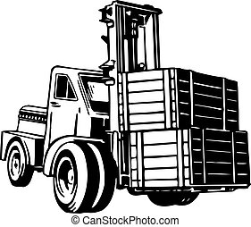 Loader machine with two boxes on white background