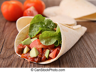 fajita with beef and vegetables