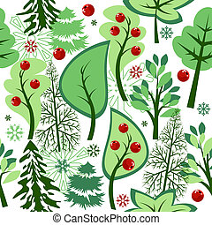 Beautiful seamless green pattern with trees and berries
