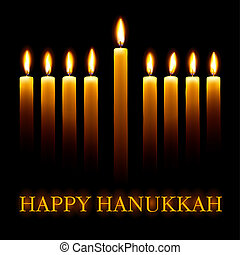 Happy Hanukkah - Vector Happy Hanukkah greeting card with...