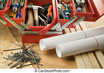 Woodwork - Paper rolls and tool box.