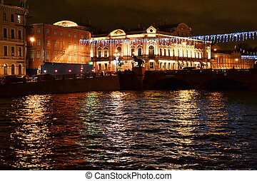Fontanka river at night - View of night St. Petersburg,...