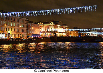 Fontanka river at night - View of night St Petersburg,...