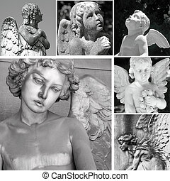 collage with antique cemetery angel