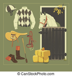 Jockey set - Vector jockey set Jockey equipment collection