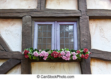 Wooden Beams - Wall of the Spanish House with Wooden Beams...