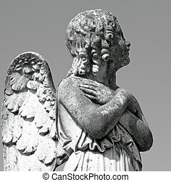 antique cemetery angel figure,Italy