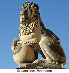 antique lion sculpture from italian garden, Boboli, Florence...
