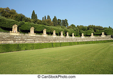 Boboli Gardens - antique amphitheater in Boboli Gardens,...
