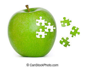 Puzzle Apple - Puzzle green apple on white background