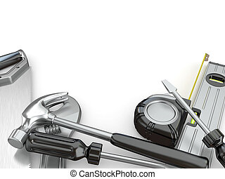 Tools Hammer, screwdriver, wrench and other 3d