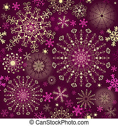 Christmas purple seamless pattern with gold and pink...